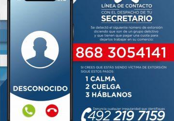 ALERTA SSP SOBRE MODALIDAD DE EXTORSIÓN TELEFÓNICA A COMERCIANTES