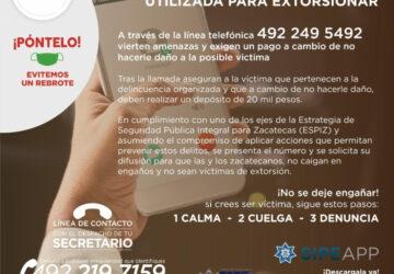 ALERTA SSP SOBRE LÍNEA TELEFÓNICA UTILIZADA PARA EXTORSIONAR; SOLICITAN DEPÓSITO DE 20 MIL PESOS