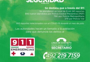 EN JULIO, SSP DETUVO 85 PERSONAS, DESARTICULÓ CUATRO GRUPOS DELINCUENCIALES Y CUMPLIMENTÓ CUATRO CATEOS